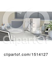 Clipart Of A 3d Office Desk With A Laptop And Binders Royalty Free Illustration by KJ Pargeter
