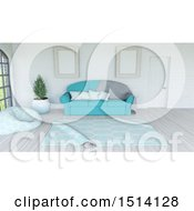 Clipart Of A 3d Living Room Interior With A Sofa And Rug Royalty Free Illustration by KJ Pargeter