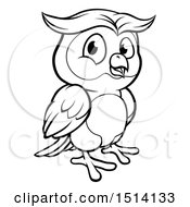 Clipart Of A Black And White Owl Mascot Royalty Free Vector Illustration by AtStockIllustration