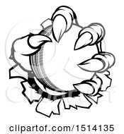 Clipart Of Black And White Monster Claws Ripping Through Metal With A Cricket Ball Royalty Free Vector Illustration