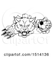 Clipart Of A Black And White Ferocious Wolf Slashing Through A Wall With A Soccer Ball Royalty Free Vector Illustration