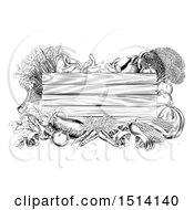 Clipart Of A Black And White Wooden Sign Framed In Produce Vegetables Royalty Free Vector Illustration by AtStockIllustration