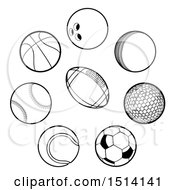 Clipart Of Black And White Sports Balls Royalty Free Vector Illustration by AtStockIllustration