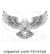 Clipart Of A Black And White Swooping American Bald Eagle With A Football In His Talons Royalty Free Vector Illustration