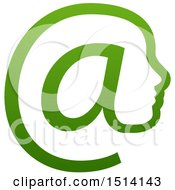 Clipart Of A Gradient Green Profiled Face In An Email Arobase At Symbol Royalty Free Vector Illustration