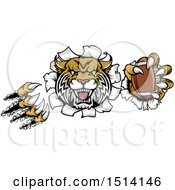 Clipart Of A Vicious Wildcat Mascot Shredding Through A Wall With A Football Royalty Free Vector Illustration by AtStockIllustration