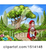 Clipart Of A Wolf Stalking Little Red Riding Hood Royalty Free Vector Illustration by AtStockIllustration