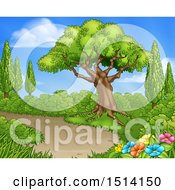 Clipart Of A Path Through A Garden With Trees And Flowers Royalty Free Vector Illustration