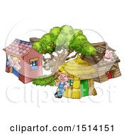 Clipart Of A Wolf And Piggies At Their Brick Wood And Straw Houses Royalty Free Vector Illustration by AtStockIllustration
