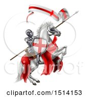 Clipart Of A Medieval Knight Saint George On A White Horse Royalty Free Vector Illustration