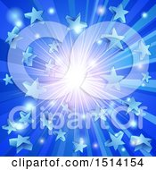 Clipart Of A Blue Star Burst Background Royalty Free Vector Illustration by AtStockIllustration