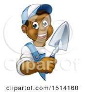 Clipart Of A Happy Black Male Gardener Holding A Garden Trowel Around A Sign Royalty Free Vector Illustration