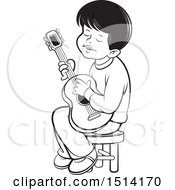Clipart Of A Boy Sitting And Playing A Guitar Grayscale Royalty Free Vector Illustration by Lal Perera