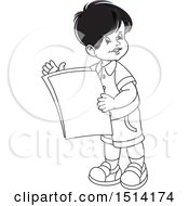 Boy Holding Papers
