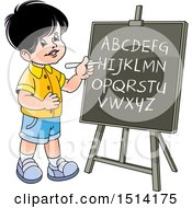 Clipart Of A Boy Writing The Alphabet On A Black Board Royalty Free Vector Illustration