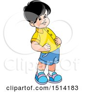 Clipart Of A Boy Exercising Royalty Free Vector Illustration by Lal Perera