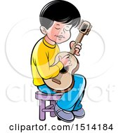 Clipart Of A Boy Sitting And Playing A Guitar Royalty Free Vector Illustration by Lal Perera