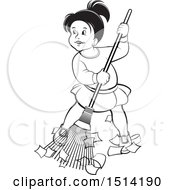 Little Girl Sweeping Grayscale