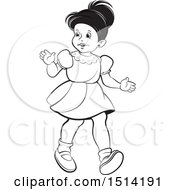 Little Girl Walking Grayscale