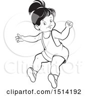 Little Girl Jumping Grayscale