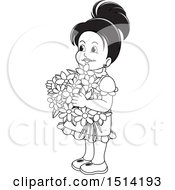 Little Girl Holding Flowers Grayscale
