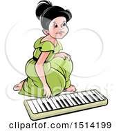 Girl Kneeling To Play An Electronic Piano