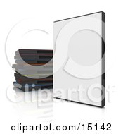 Closed Blank White Dvd Or Software Case Balanced Upright Beside A Stack Of Colorful Cases On A White Reflective Background Clipart Graphic Illustration