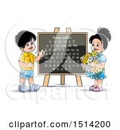 Boy And Girl At A Black Board With The Sinhala Alphabet