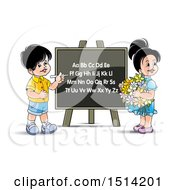 Boy And Girl At A Black Board With The English Alphabet