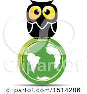 Clipart Of A Big Eyed Owl On A Green Globe Royalty Free Vector Illustration by Lal Perera