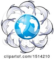 Blue And White Earth Globe Encircled With Dolphins