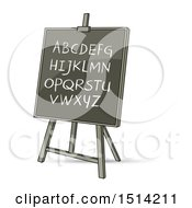 Clipart Of A Black Board With English Alphabet Letters Royalty Free Vector Illustration