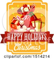 Clipart Of A Christmas Happy Holidays Text Design With A Rabbit And Gifts Royalty Free Vector Illustration by Vector Tradition SM
