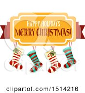 Clipart Of A Group Of Christmas Stockings And Happy Holidays Merry Christmas Banner Royalty Free Vector Illustration