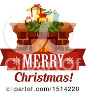 Merry Christmas Greeting With A Hearth And Presents