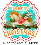 Clipart Of A Merry Christmas Greeting With A Horse Holly And Candy Canes Royalty Free Vector Illustration