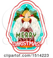 Clipart Of A Merry Christmas Greeting With An Angel Royalty Free Vector Illustration