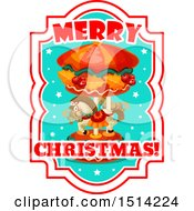 Poster, Art Print Of Merry Christmas Greeting With A Horse Carousel
