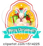 Clipart Of A Merry Christmas Greeting With Presents And A Rabbit Royalty Free Vector Illustration by Vector Tradition SM
