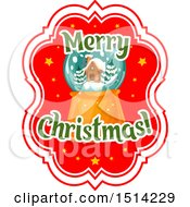 Clipart Of A Merry Christmas Greeting With A Snow Globe Royalty Free Vector Illustration