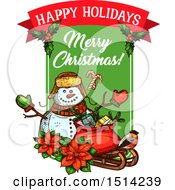Clipart Of A Happy Holidays Merry Christmas Snowman With Poinsettias A Robin And A Sack With Gifts On A Sleigh Royalty Free Vector Illustration by Vector Tradition SM