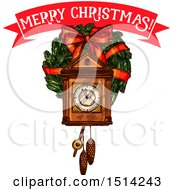 Clipart Of A Merry Christmas Banner Over A Cukoo Clock And A Wreath Royalty Free Vector Illustration