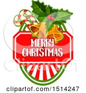 Poster, Art Print Of Bells Holly And Candy Canes Over A Merry Christmas Shield