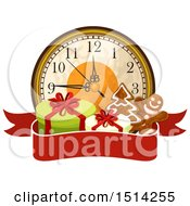Clipart Of A Clock With Gifts And Gingerbread Cookies Over A Banner Royalty Free Vector Illustration by Vector Tradition SM