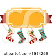 Clipart Of A Group Of Christmas Stockings And Banner Royalty Free Vector Illustration