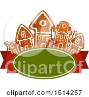 Clipart Of A Row Of Christmas Gingerbread Houses Over A Banner Royalty Free Vector Illustration by Vector Tradition SM