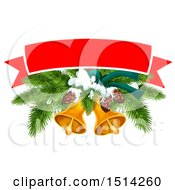 Poster, Art Print Of Banner Over A Christmas Tree Branches Pinecones And Bells