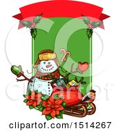 Clipart Of A Christmas Snowman With Poinsettias A Robin And A Sack With Gifts On A Sleigh With Text Space Royalty Free Vector Illustration by Vector Tradition SM