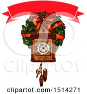 Clipart Of A Banner Over A Christmas Cukoo Clock Over A Wreath Royalty Free Vector Illustration