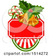 Poster, Art Print Of Christmas Bells Holly And Candy Canes Over A Shield